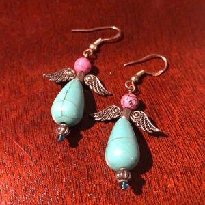 Jewelry - Turquoise & silver angel earrings